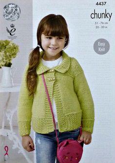 cc43503ffd9e3 Girls Knitting Pattern K4437 Childrens Easy Knit Long Sleeve
