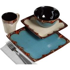 THE Boutique 16-piece Square Dinnerware Set Service for 4 : Amazon.com : Kitchen & Dining