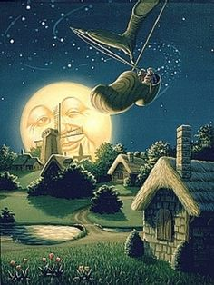 The old moon laughed and sang a song, as they rocked in the wooden shoe.