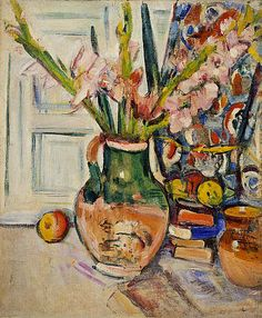 George Leslie Hunter,(Scottish, 1877 - 1931) Still Life with Gladioli (about 1927 - 1930) The piece is oil on canvas. Hunter loved to paint flower. The area around the flowers, patterned backdrops and books features thicker paint in comparison where the bare canvas is visible. Hunter used visible rapid brushwork.