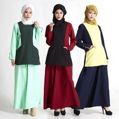 2017 Abaya Turkish Abaya Women Dress Pictures In The Autumn Of New Contracted Bump Color Two-piece Pocket Buttons Long-sleeved