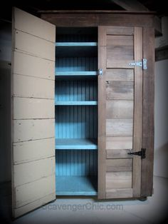 Perfect for the basement, just add some bun feet or casters. Our next project right? Learn how to build this 6 ½ ft rustic country cupboard / jelly cabinet/ diy furniture Rustic Storage Cabinets, Diy Cupboards, Cupboard Storage, Hallway Cupboards, Kitchen Storage, Rustic Furniture, Diy Furniture, Furniture Buyers, Furniture Dolly