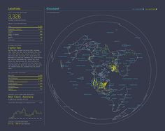 The way the globe is projected and the strong combination of colors in this infographic caught my eye.