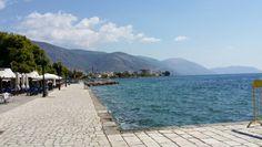 Itea, looking towards Parnassos, Greece (I walked quickly along the harbor's edge.)