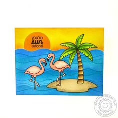 Sunny Studio Stamps Tropical Paradise Flamingo Card