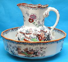 Masons Ironstone Pitcher And Bowl, Circa 1900