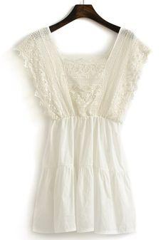 White Plain Lace U-neck MIni Chiffon Dress