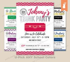 PRINTABLE  Graduation Trunk Party Celebration Invitation
