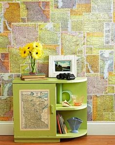 Use atlases and decoupage medium to make a patchwork effect on walls - plus 20 more map crafts!