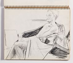 Diebenkorn, crayon, Page 047 from Sketchbook # 23 [seated female nude; layout: landscape orientation]