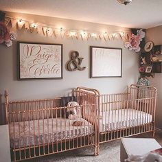 213 best twins or multiples nursery ideas images in 2019 nurserydouble the rose gold love in this sweet twins nursery from @emileestucky name in