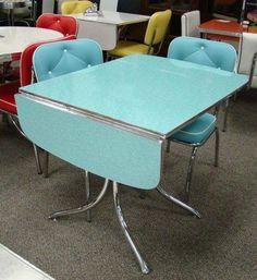 Love this one! Aqua, drop-leaf, chairs!