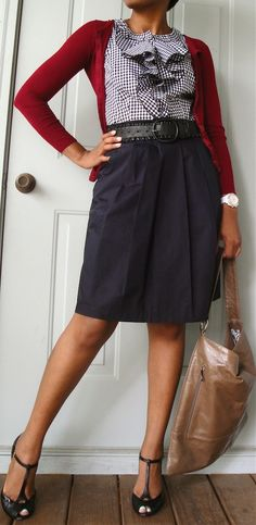 t-strap tahari heels + black + white gingham blouse