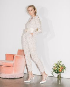 Nothing like a sleek, chic skinny lace jumpsuit for wedding day or getaway! Loving everything about this, especially the obi sash inspired belt! Stella McCartney's debut bridal collection does not disappoint in any way. Stunning Wedding Dresses, White Wedding Dresses, Bridal Dresses, Wedding Gowns, Lace Wedding, Wedding Jumpsuit, Lace Jumpsuit, Bridal Lace, Bridal Style