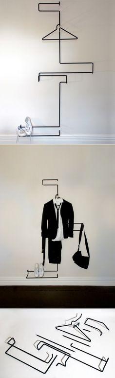 Powder coated steel XY+Z suit rack, designed by Emma Fox Derwin and Nigel Groom of Wellington based design studio Well Groomed Fox