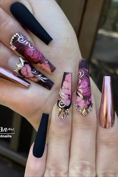 Here Comes The Coffin Nail art, Which Is Fashionable And Beautiful, Making Your Nails More Beautiful - Keep creating beauty and warm home, Find more happiness in daily life Edgy Nails, Glam Nails, Dope Nails, Fancy Nails, Bling Nails, Stylish Nails, Grunge Nails, Art Nails, Bling Acrylic Nails