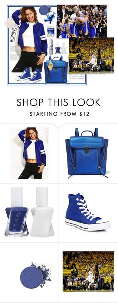 """""""Romwe.Royal Blue Jacket"""" by natalyapril1976 ❤ liked on Polyvore featuring 3.1 Phillip Lim, Essie, Converse and Kevin Jewelers"""