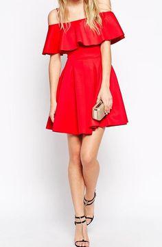 Off-shoulder Ruffle Flare Dress -SheIn(Sheinside)