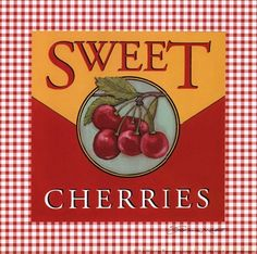 Sweet cherries..I love cherries!  I have this on a trivet, too cute!