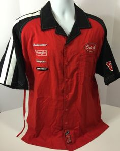 Nascar Dale Earnhardt Jr #8 Budweiser Bud Pit Crew Shirt Jersey Size L Wrangler