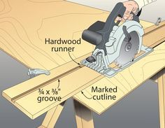 """While I don't care for wrestling sheet goods atop my tablesaw to cut them, I dislike even more the hassle that comes with setting up most circular–saw guides: all that measuring, offsetting, and praying it comes out right. So I built this simple tracked guide that puts the blade in line with the cutline every time. To build one, cut a piece of MDF wider than your saw's base and as long as you'll need to span your sheet goods. Then, cut a 3⁄4""""-wide groove 3⁄8""""-deep the length of the MDF. ..."""