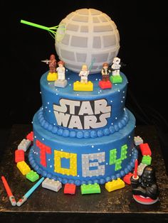 Star Wars Lego cake...Wish I could just pluck this out of the screen! Already has his name on it!