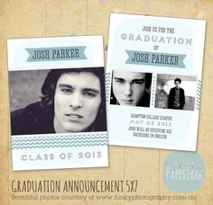 Graduation Photo Announcement template by PaperLarkDesigns