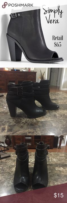 """🆕 Simply Vera Peep Toe Booties (a closet staple) If you don't have a pair of black booties in your closet, fill that void with these pre-loved Simply Vera booties. Simple just like the name, but with a fun peep toe feature. Pre-worn (see pic of wear).                                                          🔸Ankle Boots, Leather 🔹3"""" Block Heel 🔸Surprisingly comfortable ✨Pair with the other items you have your eye on, in my closet for a bundle discount! These are a steal!✨ Simply Vera…"""