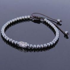 Hematite Sterling Silver Adjustable Braided Bracelet Mens Women DIY-KAREN 679