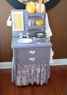 mini play kitchen made from a nightstand