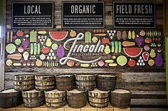 whole foods market mural lincoln NE - food Ideen Food Court Design, Food Design, Whole Foods Market, Produce Displays, Store Signage, Cafe Signage, Vegetable Shop, Supermarket Design, Fruit Shop