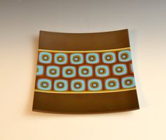 Elucook Fused Glass Blue and Brown Tray