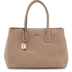 Furla Serena Leather Tote Bag ($200) ❤ liked on Polyvore featuring bags, handbags, tote bags, daino, brown leather purse, brown tote, brown leather tote bag, brown tote bag and leather handbag tote