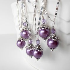 Weddings, Bridesmaid Jewelry, Purple Pearl Necklaces Vintage Style Beaded Pendant in Antiqued Silver. $12.00, via Etsy.