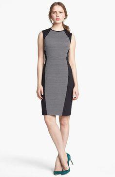 Vince Camuto Dot Print Colorblock Sheath Dress (Regular & Petite) available at #Nordstrom