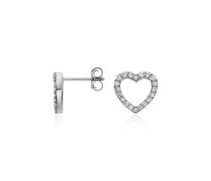 Brilliant and sweet, these mini stud diamond earrings are sure to please your Valentine!