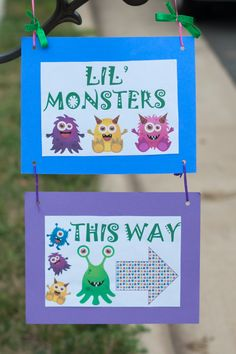 Monster Sign For Birthday Party. Printed on computer and taped to construction paper.