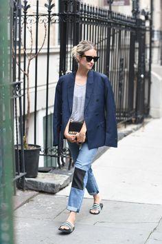 MIH Jeans jean // H&M Trend tee (similar here) // H&M Men blazer (similar here) // Adidas pool slides // Valentino ba