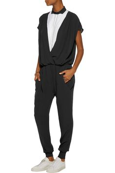 Shop on-sale Brunello Cucinelli Bead-embellished cotton-poplin trimmed silk-chiffon jumpsuit. Browse other discount designer Jumpsuits & more on The Most Fashionable Fashion Outlet, THE OUTNET.COM