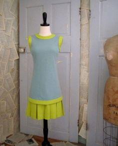 1960s Blue and Chartreuse Drop Waist Dress