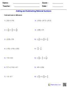 Worksheets Ordering Rational Numbers Worksheet real numbers rational and in maths on pinterest adding subtracting worksheets