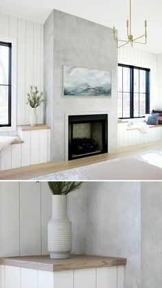Fireplace Update, Home Fireplace, Fireplace Remodel, Living Room With Fireplace, Fireplace Surrounds, Fireplace Design, Home Living Room, Living Room Designs, Bedroom Fireplace