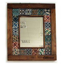 Wooden mirror with tile pattern - - Mirror Painting, Mirror Tiles, Diy Mirror, Ceramic Painting, Wall Ornaments, Tile Crafts, Indian Home Decor, Tile Art, Handmade Home Decor