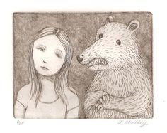 Girl and Bear Etching. $55.00, via Etsy.