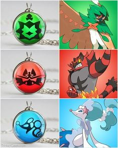 Pokemon Sun and Moon starter pokemon decidueye-incineroar-primarina Pokemon Alola, Pokemon Fan Art, Pokemon Fusion, Cute Pokemon, Pikachu, Pokemon Breeds, Pokemon Jewelry, Pokemon Necklace, Resident Evil