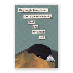 Evening Magnet - Bird - Humor - Gift - Stocking Stuffer - Mincing Mockingbird by MincingMockingbird on Etsy https://www.etsy.com/listing/106882354/evening-magnet-bird-humor-gift-stocking