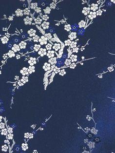 Dark Navy Blue w/Silver White Blossom Motif Chinese Art