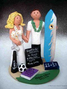 Hawaiian Wedding Cake Topper http://www.magicmud.com   1 800 231 9814  magicmud@magicmud.com  http://blog.magicmud.com  https://twitter.com/caketoppers         https://www.facebook.com/PersonalizedWeddingCakeToppers $235 #hawaii #surfer#surfing#surf#ocean#wave#beach#longboard#catch-a-wave#waveRider