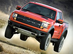 Ford F-150 SVT Raptor. This high-performance off-road terror packs a 5.4L Triton V8 making 320 hp, a completely redesigned front suspension with shocks from Fox Racing, a unique grill, a body that's seven inches wider than a stock F-150, BFGoodrich All-Terrain TA/KO 315/70-17 tires, optional graphics, and more.