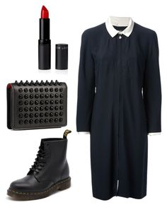 """Halloween party"" by ceci0018 ❤ liked on Polyvore featuring Chanel, Dr. Martens, Christian Louboutin, Halloween and blackdress"